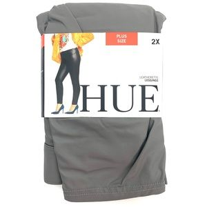 HUE Plus Size Grey Leatherette Leggings 2X NEW
